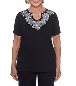 Alfred Dunner Embroidered Yoke Top