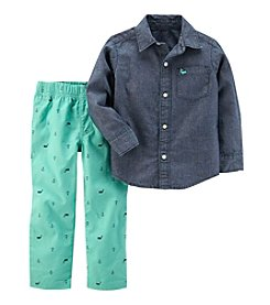 Carter's Boys' 12 Months- 5T 2-Piece Chambray Shirt and Printed Pants Set