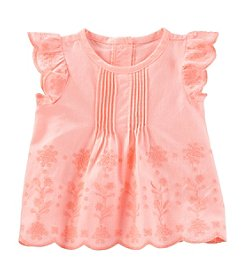 OshKosh B'Gosh Baby Girls' Ruffle Sleeve Eyelet Top