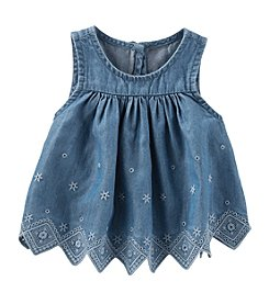 OshKosh B'Gosh Baby Girls' Chambray Eyelet Top