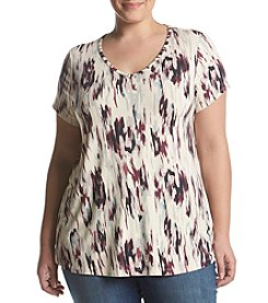 Ruff Hewn GREY Plus Size Abstract Print Tee