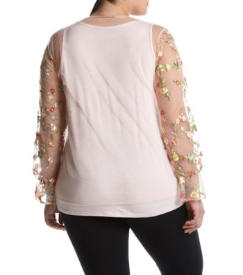Ruff Hewn GREY Plus Size Mesh Design Floral Embroidery Detail Top