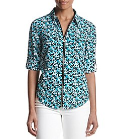 MICHAEL Michael Kors Floral Pattern Zip Up Top
