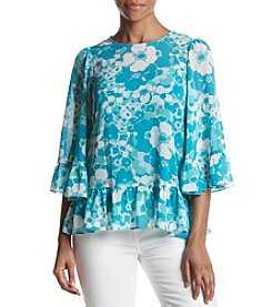 MICHAEL Michael Kors Floral Pattern Ruffle Hem And Cuffs Top