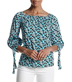 MICHAEL Michael Kors Floral Pattern Tie Cuffs Sleeve Top