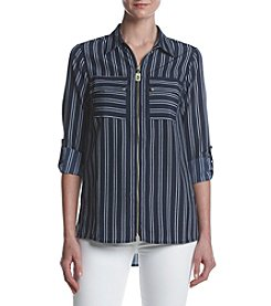 MICHAEL Michael Kors Striped Pattern Zip Up Top