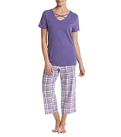 93bd76be2a Intimate Essentials Strappy V-Neck Top And Pants Pajama Set