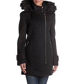 Calvin Klein Asymmetrical Zip Faux Fur Hood Coat