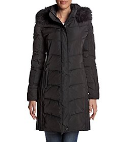 Calvin Klein Performance Faux Fur Hood Long Quilted Coat