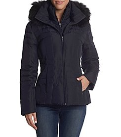 Calvin Klein Down Bib Insert Faux Fur Hooded Coat