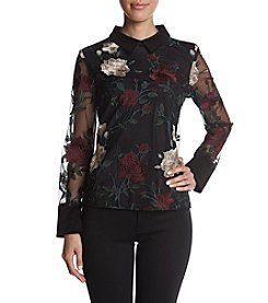 Ivanka Trump Floral Embroidered Sheer Illusion Top