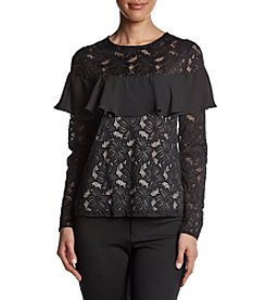 Ivanka Trump Floral Lace Illusion Ruffle Detail Top