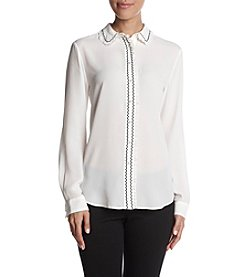 Ivanka Trump Ruffle Embroidery Detail Pearl Button Top