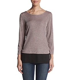 Ivanka Trump Ribbed Glitter Detail Sheer Hem Top