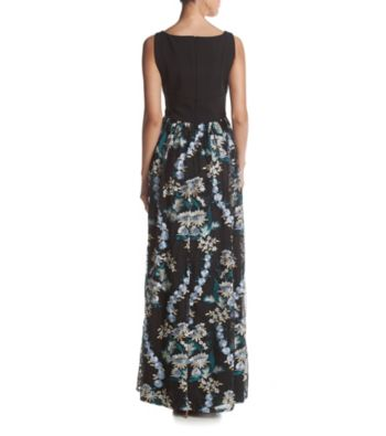 Adrianna Papell Embroidered Gown V-back Jersey Dress. 123456789101112