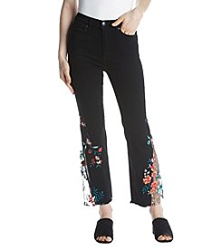 Free People High Rise Embroidered Lace Flare Jeans