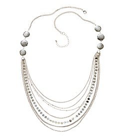 Ruff Hewn Silvertone Multi Row Chain Necklace