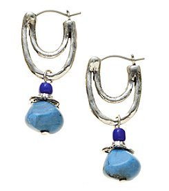 Ruff Hewn Silvertone Blue Stone Earrings