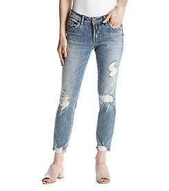 Silver Jeans Co. Suki Distressed Cuffed Skinny Jeans