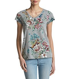 Ruff Hewn Button Back Floral Pattern V-Neck Tee
