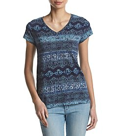 Ruff Hewn Floral Striped Pattern Button Back V-Neck Tee
