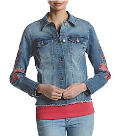 Ruff Hewn Embroidered Sleeve Denim Jacket