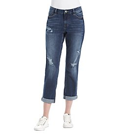 Ruff Hewn Destructed Detail Straight Cropped Jeans