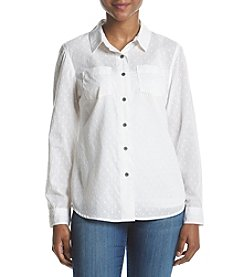 Ruff Hewn Petites' Dot Pattern Button Down Top