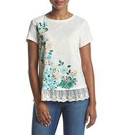 Ruff Hewn Petites' Floral Lace Top