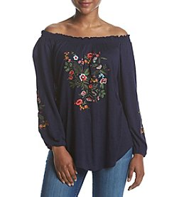 Ruff Hewn Petites' Floral Embroidery Detail Peasant Top