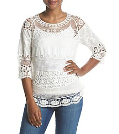 Ruff Hewn Petites' Crocheted Lace Sweater