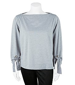 A. Byer Plus Size Boat Neck Tie Sleeve Detail Top