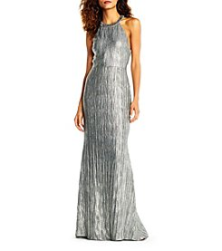 Adrianna Papell Crinkle Long Jersey Dress