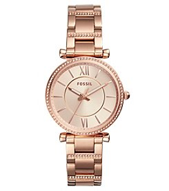 Fossil Carlie Three-Hand Rose Goldtone Stainless Steel Watch