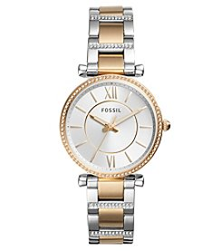 Fossil Carlie Three-Hand Two Tone Stainless Steel Watch