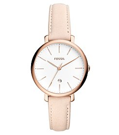 Fossil Jacqueline Three Hand Date Leather Watch