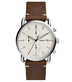Fossil Men's The Commuter Chronograph Brown Leather Watch