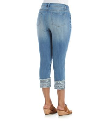 dba0bfd50e431 Ruff Hewn Plus Size Abstract Pattern Cuff Cropped Skinny Jeans