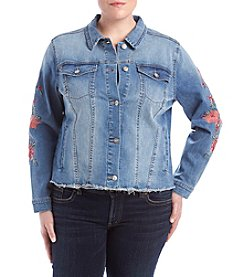 Ruff Hewn Plus Size Floral Embroidery Detail Denim Jacket