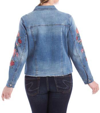a1cb9053832e2 Ruff Hewn Plus Size Floral Embroidery Detail Denim Jacket