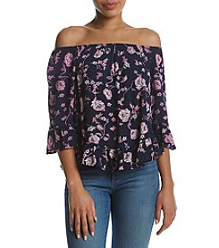 Hippie Laundry Floral Pattern Ruffle Sleeve Top