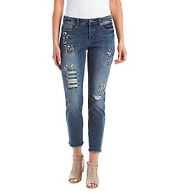 Ruff Hewn GREY Jewel Distressed Detail Skinny Cropped Jeans