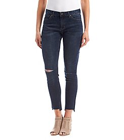 Ruff Hewn Distressed Detail Frayed Step Hem Skinny Cropped Jeans
