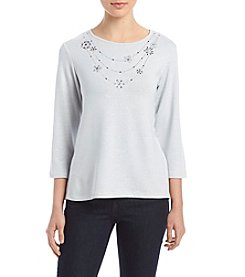 Alfred Dunner Pearl Grey Top With Beaded Necklace