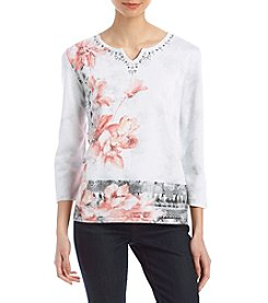 Alfred Dunner Asymmetrical Floral Sweater