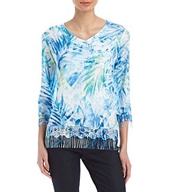 Alfred Dunner Tropical Leaves Lace Fringe Sweater