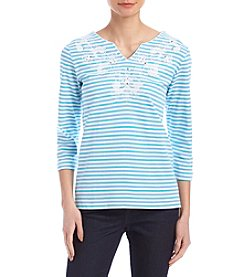 Alfred Dunner Stripe Embroidered Yoke Top
