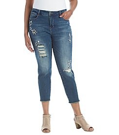 Ruff Hewn Plus Size Rip And Repair Rhinestone Ankle Jeans