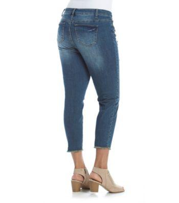 af72ebc0815f9 Ruff Hewn Plus Size Rip And Repair Rhinestone Ankle Jeans