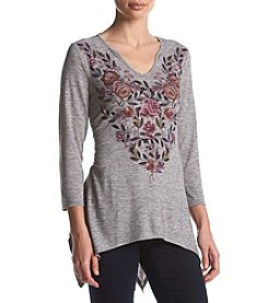 Oneworld Floral V-Neck Shark Bite Top